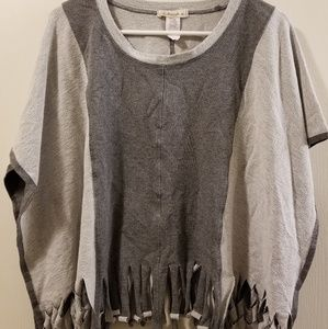 Stretchy Grey Fringed Top